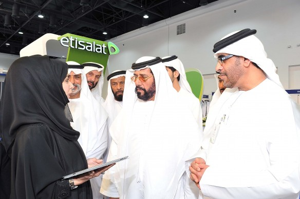 His Highness Sheikh Tahnoon Bin Mohammad Al Nahyan  & H H Sheikh Nahyan bin Mubarak Al Nahyan  and Nasser Bin Obood A CEO Etisalat during the exhibition