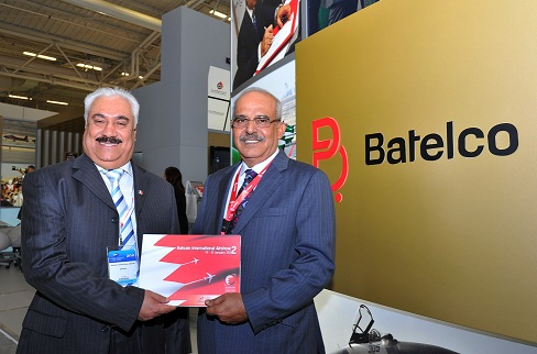 Batelco Chairman of the board Sh. Hamad bin Abdulla Al Khalifa, right, with the Undersecretary for Civil Aviation (CAA) Captain Abdulrahman Al-Gaoud, at the signing event at the Paris Airshow.