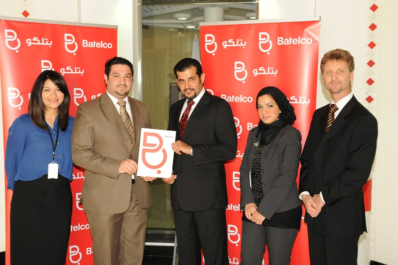 Batelco Public Relations Manager, Osama Alsaad, 2nd from left presents the sponsorship cheque to International Leadership Conference Chairman Khalid Al Quod in the presence of Batelco PR Specialist Noor Behzad, left, Prince Events Management Business Development Manager Zahra Baqer, 2nd from right, and Prince Events managements Marketing Manager, Kevin Craig, right.