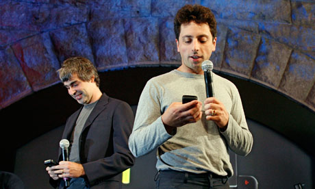 Google founders Larry Page, left, and Sergey Brin ensured that only a minority of shareholders were given voting rights